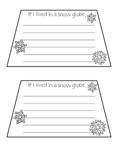 Classroom Freebies: If I lived in a Snow Globe...