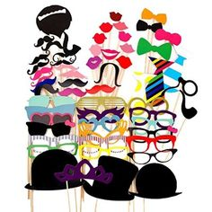 58PCS Colorful Props On A Stick Mustache Photo Booth Party Fun Wedding Christmas Birthday Favor
