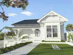 Villa style house, New Zealand House Design, House, House Extensions, House Front, House Plans, Exterior House Colors, Exterior Design, Weatherboard House, White Houses