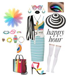 """Happy Hour - Contest #3"" by chloeptlle ❤ liked on Polyvore featuring Alexandre Birman, San Diego Hat Co., Miss Selfridge, Mara Hoffman, Lime Crime, Isabel Marant, Marieyat, Sophie Hulme, MCM and Balmain"