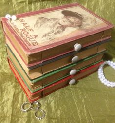 Book Jewelry Box ANTIQUE SET Upcycled recycled by WreckedWritings, $45.00