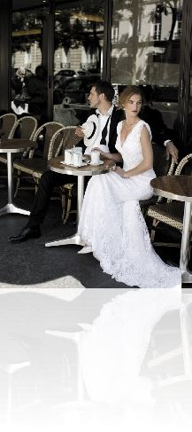 Cymbeline Paris - Gala - V-neck, Fit to Flare, Lace, Sleeves, Traditional Wedding Dress, Classic Wedding Gown, Romantic Wedding Dress