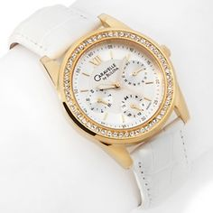 Caravelle Bulova Ladies' Goldtone White Leather Strap Watch at HSN.com.
