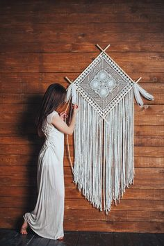 Nursery dreamcatcher, large wall tapestry, dream catcher wall hanging - Macrame And Dreamcatcher Decor -Dream catcher Crochet Diamond Mandala perfect wall art for your boho bedroom or bohemian nurseryThis dreamcatcher decor is a breathtaking addition Grand Dream Catcher, Dream Catcher Nursery, Large Dream Catcher, Dream Catcher Boho, Doily Dream Catchers, Modern Bohemian, Boho Chic, Bohemian Kids, Boho Style