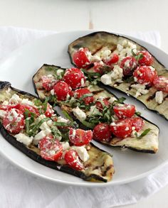 Grilled Eggplant with Tomatoes, Feta, and Basil   casadecrews.com