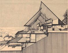 This incredible house in Atlantic Beach, Florida, was designed by none other than renowned Jacksonville architect William Morgan—who studied under Walter Gropius and Paul Rudolph—for his own family. Triangular Architecture, Modern Architecture Design, Architecture Drawings, Concept Architecture, Seattle Architecture, System Architecture, Lego Architecture, Gothic Architecture, Casa Eichler