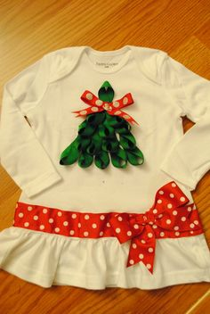 Baby or Child Ribbon Christmas Tree Shirt by BittyBundlesofJoy, $28.50