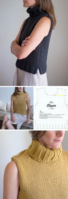 Sloper: Basic pattern for a sleeveless sweater - free pattern Knit Vest Pattern, Sweater Knitting Patterns, Knitting Designs, Knit Patterns, Knitting Tutorials, Stitch Patterns, Ärmelloser Pullover, Free Knitting Patterns For Women, Templer