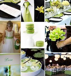 green and white  wedding   Black White and Green Weddings - Primadonna Bride
