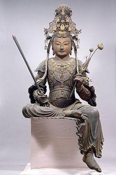 快慶木造騎獅文殊菩薩及脇侍像
