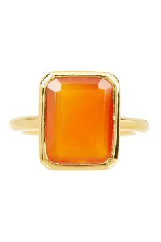 Savvy Cie | 22K Yellow Gold Vermeil Carnelian Ring | Nordstrom Rack