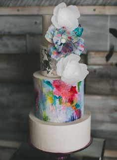 Watercolor blossom wedding cake