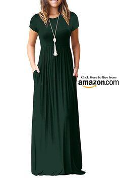 816aae0d62d3 Euovmy Women s Short Sleeve Loose Casual Maxi Dresses Long Summer Dresses  with Pockets Acid Blue Medium