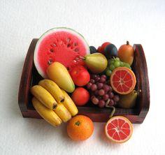 https://flic.kr/p/W11GDE | Barbie dollhouse miniature food, Polymer clay Fruits set, doll food 1:6 scale