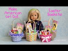 Make American Girl Doll Easter Baskets for your 18 Inch Dolls Doll House - YouTube