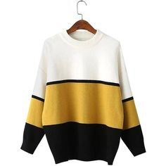 Yoins Yoins Colorblock Long Sleeve Sweater (€28) ❤ liked on Polyvore featuring tops, sweaters, shirts, black, shirts & tops, long sleeve shirts, round neck sweater, color block shirt, black jumper and black long sleeve jumper