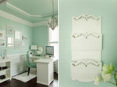 Cool color for craft room walls.