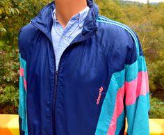 vintage 80s ADIDAS windbreaker jacket neon stripe by skippyhaha, $28.00