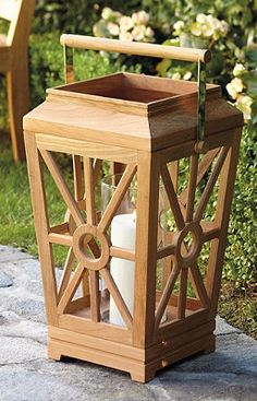 Light your garden pathway with these gorgeous teak lanters.