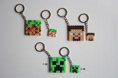 Minecraft keychains hama mini and midi perler beads by DecorarteLeon