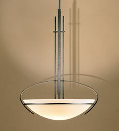 Hubbardton Forge 134312 3 light adjustable Bowl pendant from the MacKintosh Collection Brass Chandelier, Dining Room Lighting, Canopy, Old Things, Ceiling Lights, Pendant, Glass, Foyer, Kit