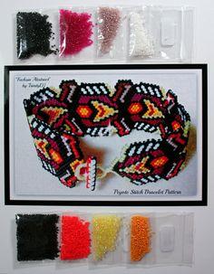 Fuchsia Abstract bracelet kit by BeadworkByDiana on Etsy