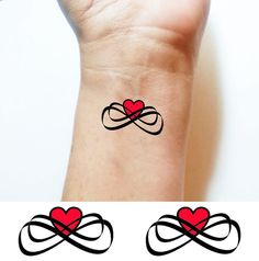 Temporary TATTOO Infinity Love Infinity Heart s, m, or  l Color or black Set of 2 fake tattoos body art