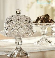 Fifth Avenue Crystal Muirfield Faceted Crystal Mini Pedestal Serving Plates with Domes, Set of 2 - Cake Plate With Dome, Crystal Cupcakes, Cake Holder, Serving Plates, Serving Dishes, Faceted Crystal, Cake Plates, Serveware, Tableware