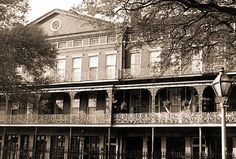 Old photo of the Upper Pontalba Building - French Market District, New Orleans.