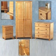 Sol Solid Antique Pine Wardrobe Or Chest Of Drawers Bedside Free Delivery