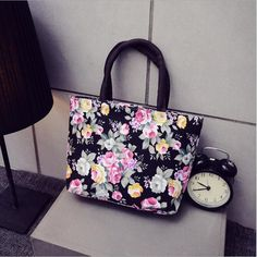 Canvas Casual Zipper Shopping Bag Tote Women Handbags flower Floral Printed Ladies Single Shoulder Beach Bags♦️ SMS - F A S H I O N  http://www.sms.hr/products/canvas-casual-zipper-shopping-bag-tote-women-handbags-flower-floral-printed-ladies-single-shoulder-beach-bags/ US $4.86