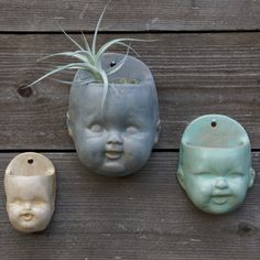 Little Blue Doll Head Planter