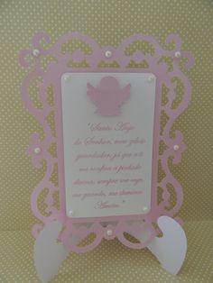 Placa de mesa com suporte e oração do anjo da guarda
