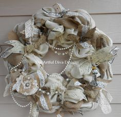 Cream and Natural Burlap Wreath with Lace by TheArtfulDivaDesigns