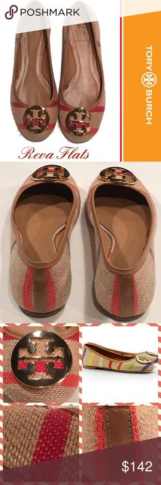 TORY BURCH Striped Reva Burlap Flats ~ Size 7M TORY BURCH striped burlap Reva Flats, size 7 M.  Small scratch on one of the signature gold medallions (see last collage down). Aside from that, condition is excellent and clean.  All leather soles. Tory Burch Shoes Flats & Loafers