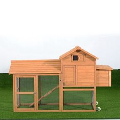 Pawhut Deluxe Portable Backyard Chicken Coop w/ Fenced Run and Wheels (Small/Medium Coop), Brown