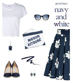 """Navy and White"" by molly2222 ❤ liked on Polyvore featuring RE/DONE, Jimmy Choo, Maison Kitsuné, Tory Burch, Butter London, Silver Forest, navy and kitsune"