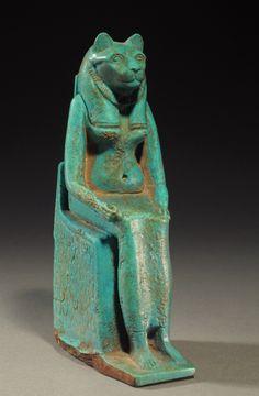 Egyptian large turquoise faience seated Bastet