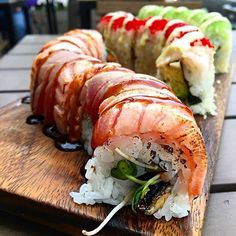 the red caterpillar and emerald wave rolls #idreamofsushi credit: @cheekyeats
