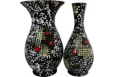 Carstens Ceramic Vases, Two matching 1950s West German pottery vases by Carstens with brown matte glazes with white splotches. Finished with yellow and red accents.