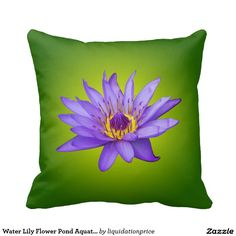 Water Lily Flower Pond Aquatic Purple Water Bloom Throw Pillow