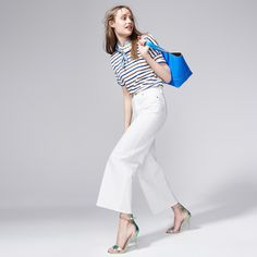 J.Crew Looks We Love: Women's St. James for J.Crew slouchy tee in ecru gitane café, Sophia Webster for J.Crew crossstrap in irridescent blue, white denim culotte and the New Uptown tote bag in neon azure.