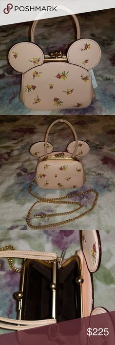 """👜 Authentic Coach Minnie Mouse purse Disney x Coach Beautiful Rare Kisslock Bag. Smooth Calf leather. Double kisslock closure fabric lining. Inside multifunction pockets. Handle with 5 3/4 drop. Outside slip pocket. Detachable strap with 23 1/2"""" drop for shoulder or crossbody wear. 5 """" L x 5 3/4"""" H x 3 1/2 W. Color Vintage pink and multi light gold. New with tags. No trade. Coach Bags Crossbody Bags"""