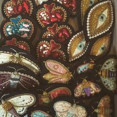 moth ,eye, heart embroidery brooches made by Azumi Sakata ©AzumiSakata