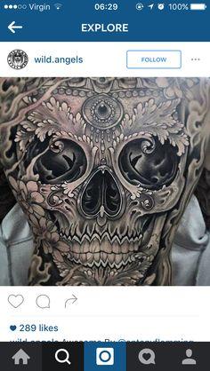 Black and white skull backpiece