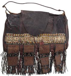 OLD AFRICAN TUAREG LEATHER CAMEL BAG FROM NIGER