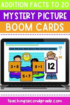 This addition facts boom cards activity is perfect for helping your students practice their important math skills from home.  Students will practice their addition facts to 20 while revealing a mystery picture. Each slide will show a number. The student will click on the correct addition problem that equals that number. There's  3 mystery pictures included in this set with each set containing 9 problems to solve for each picture. #distancelearning #mathpractice #additionworksheets… Addition Worksheets, Addition Facts, Math Practices, Math Skills, Teaching, Education, Learning