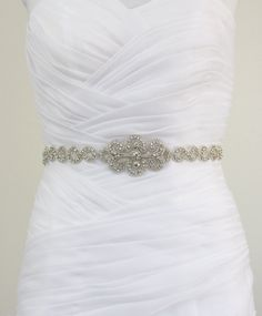 ANNABELLA  - Vintage Inspired Infinity Design Wedding Crystal Rhinestone Bridal Beaded Sash Belt. $95.00, via Etsy.