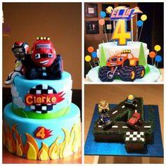 Montagem com três bolos para festa Blaze Monster Machine.