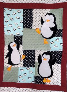 Happy Feet  Penguin Appliqued Baby quilt! Psh it can be for grown ups like me too right?